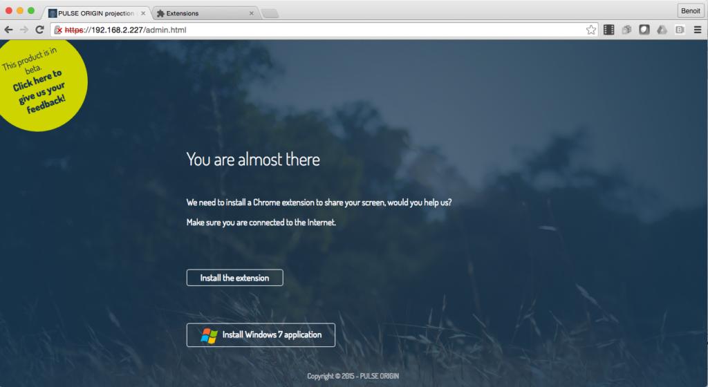 Ecran d'installation de l'applicatif Windows 7